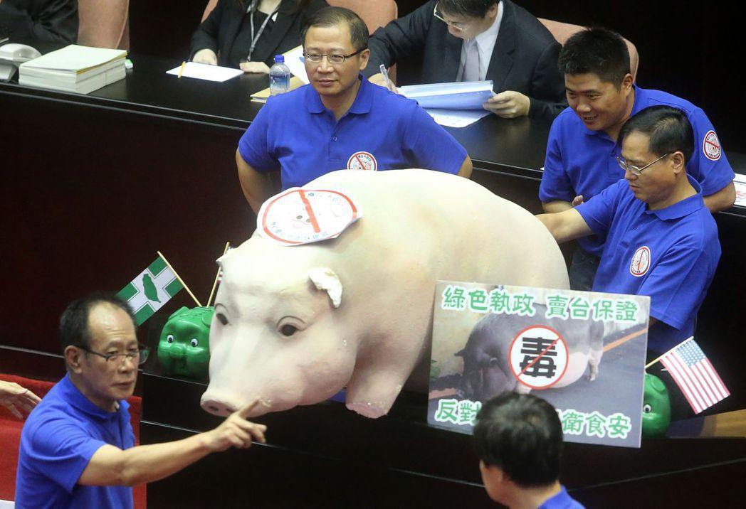藍委搬來道具大豬公,要求林全簽下不開放美豬承諾書。 報系資料照