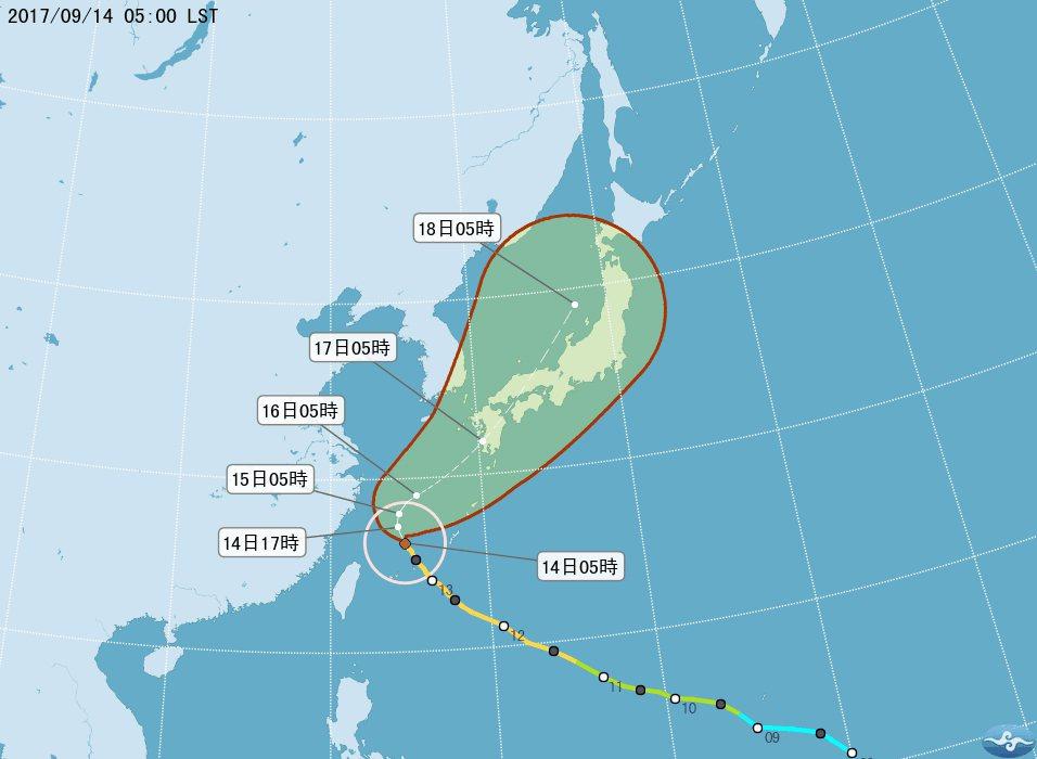 泰利颱風路徑潛勢預測 圖/中央氣象局