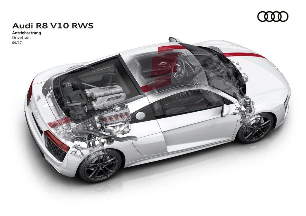 全新世代Audi R8 V10 RWS在Böllinger Höfe R8工廠手工打造,首度採用後輪驅動,同時也是最接近R8 LMS的市售車款,最均衡的操控駕馭感受。 圖/台灣奧迪提供