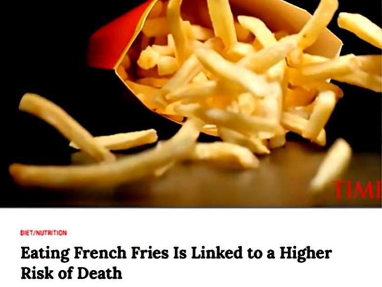2017年7月美國《時代雜誌(TIME)》一篇「薯條吃多了會提高死亡風險」的報導...