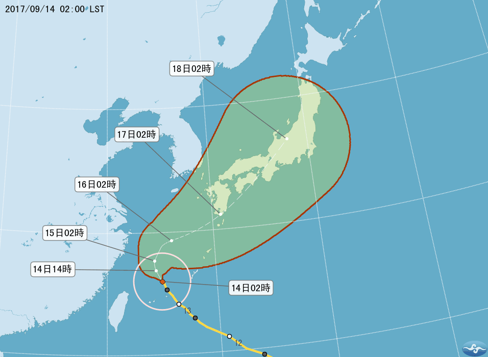 周日泰利颱風將掃過日本九州、四國及部分本州,有相關行程要注意其動態及影響。圖/翻...