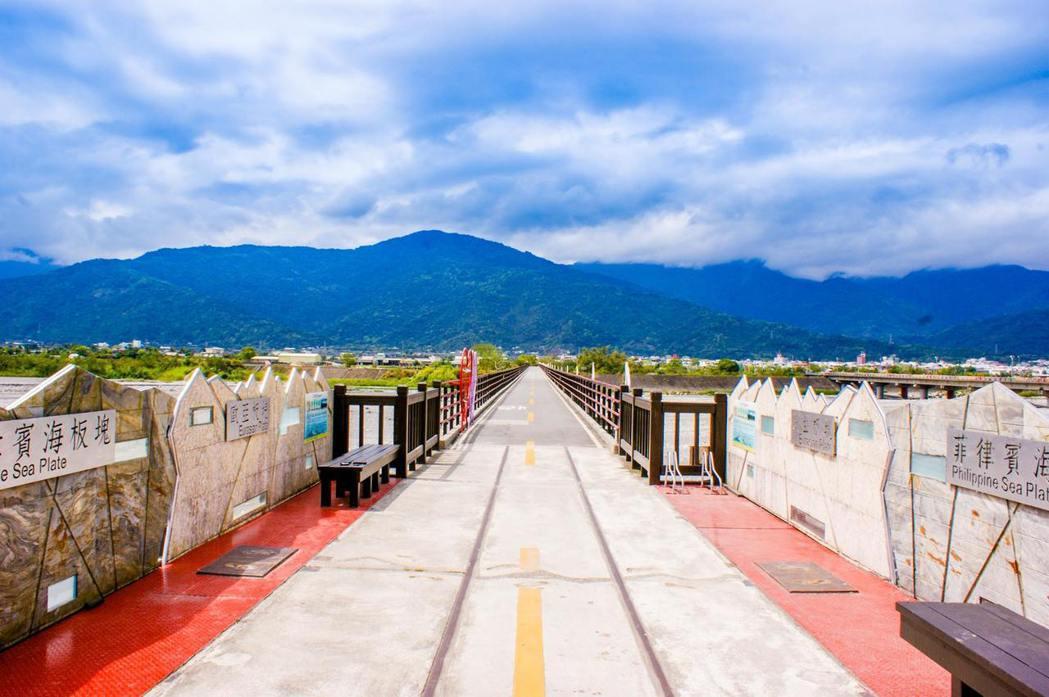 花東縱谷九大自行車道之一的玉富自行車道,是世界唯一橫跨兩大聚合板塊,並以鐵路橋梁...