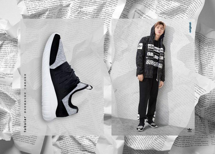 鹿晗演繹Tubular RADIAL鞋款。圖/adidas Originals提...