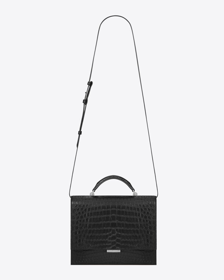 BABYLONE 黑色鱷魚壓紋牛皮肩背包,82,100元。圖/Saint Lau...