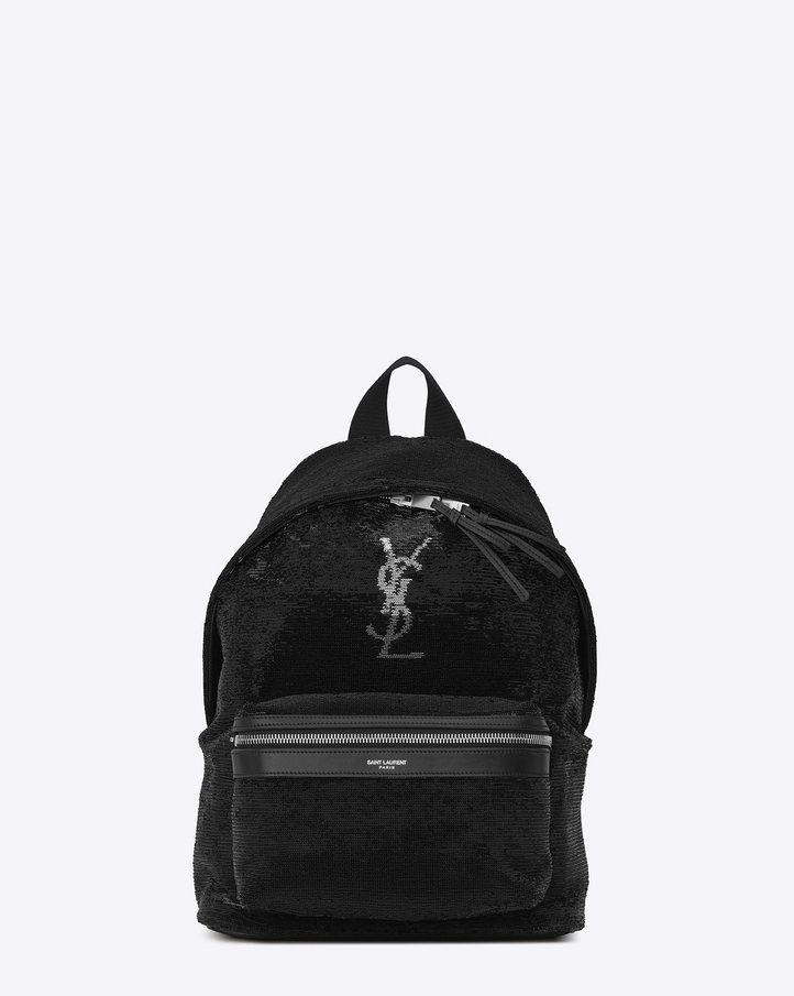 MINI CITY 黑色亮片後背包。圖/Saint Laurent提供