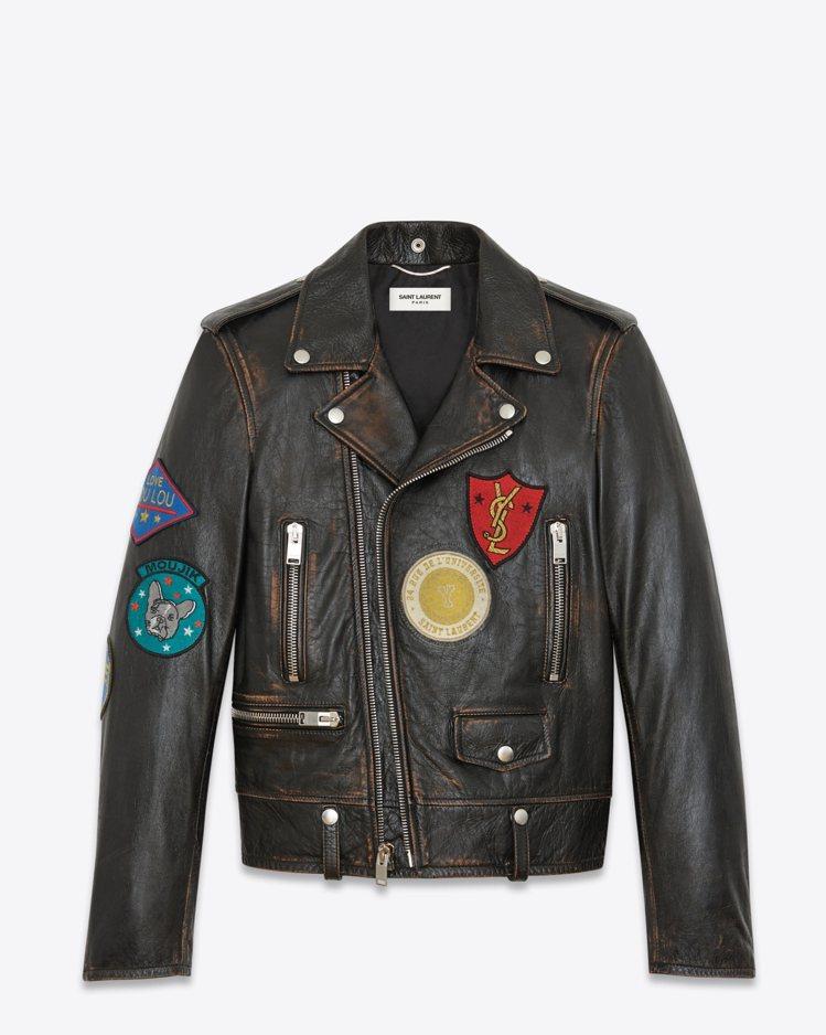 L01徽章經典皮夾克(男士款)。圖/Saint Laurent提供
