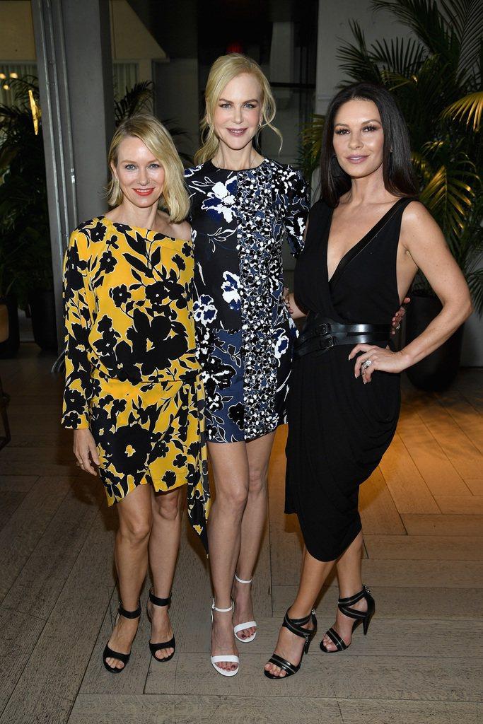 (左起)娜歐蜜華茲、妮可基嫚、凱薩琳麗塔瓊絲都出席MK 2018春夏大秀。圖/M...