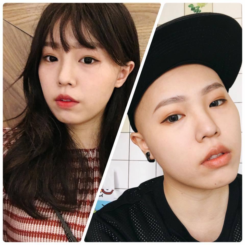 26歲的罹癌網頁介面設計師謝采倪,將自己長髮照和光頭照放在一起,自嘲是一對姊弟。...