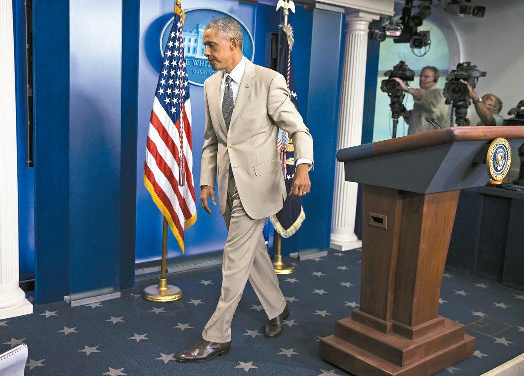 歐巴馬2014年8月在白宮召開記者會,大談發生在敘利亞、烏克蘭等地的國際危機,然...