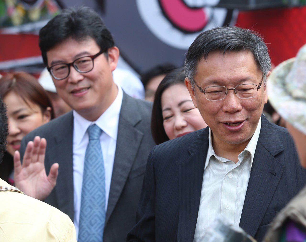 台北市長柯文哲(右)與有意參選台北市長的民進黨立委姚文智(左)。 聯合報系資料照