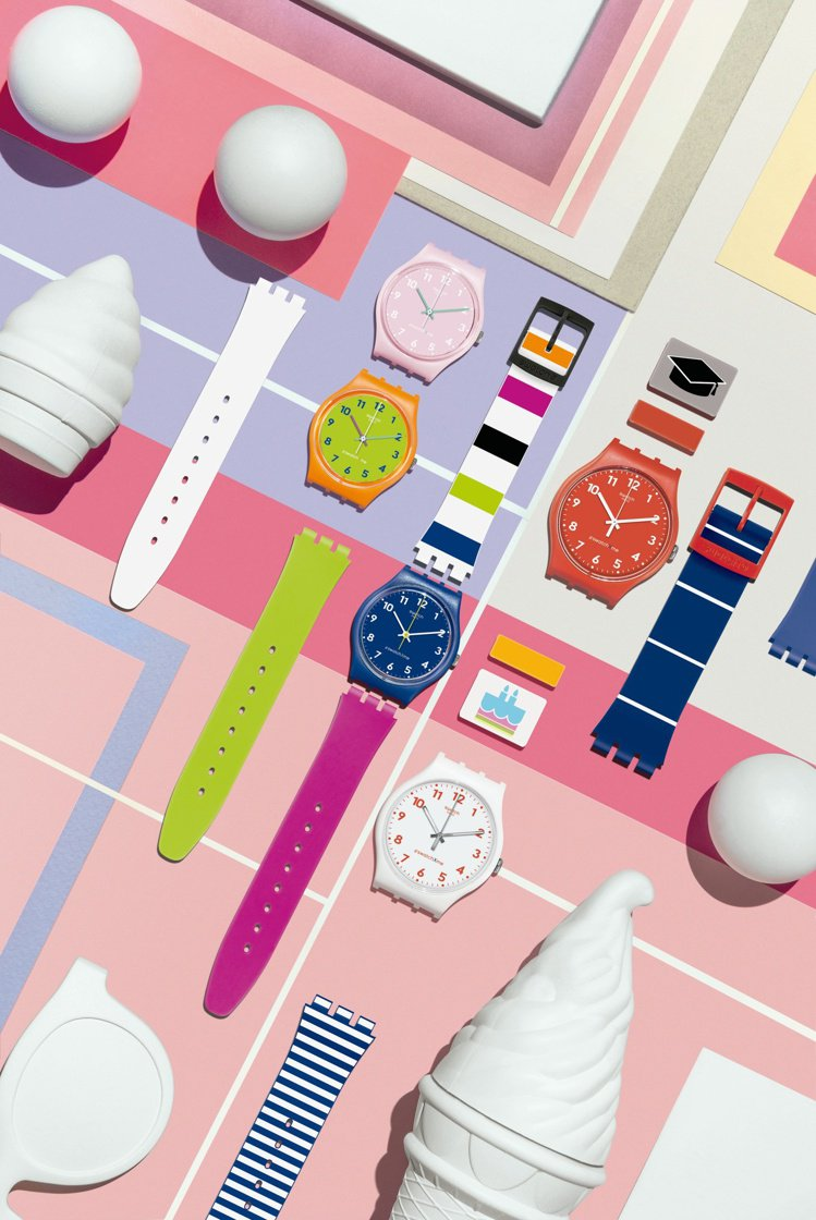 Swatch提供了消費者能從表身、表帶到表環,都能挑選自己喜愛的配色和式樣的訂製...