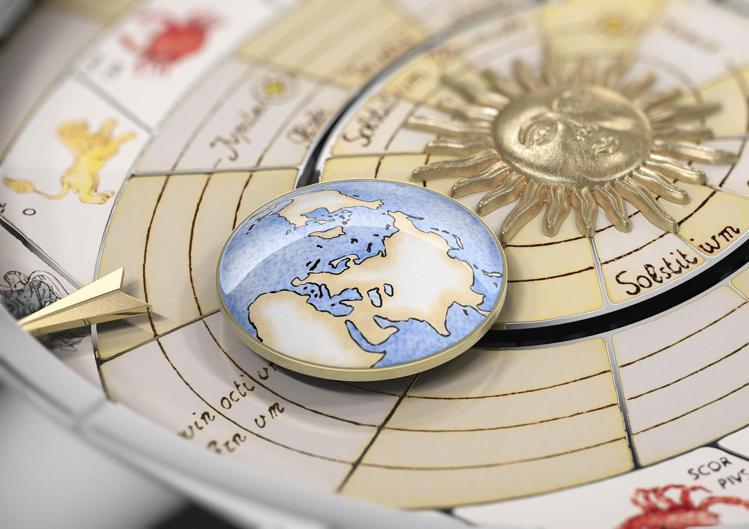 江詩丹頓藝術大師哥白尼天體球腕表,首度於腕表上呈現哥白尼的日心說。圖/Vache...