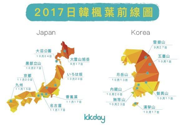 一圖秒懂!2017日、韓賞楓情報圖。圖/KKday提供