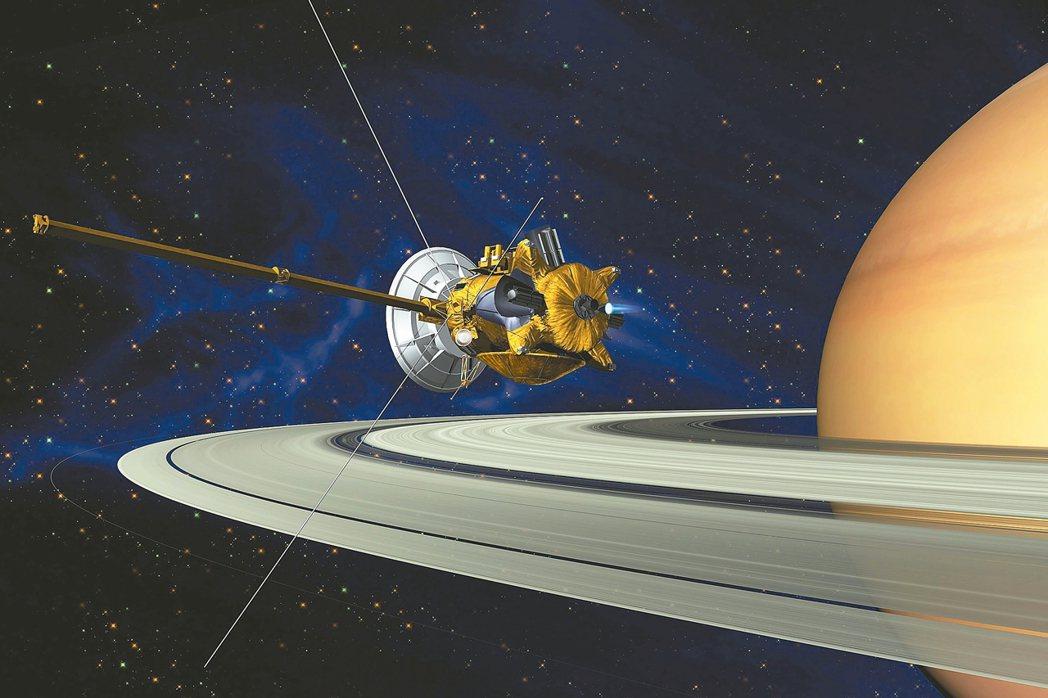 穿越土星和土星環間空隙22次之後,卡西尼號最後一次穿越,然後加速衝向土星。 歐新...