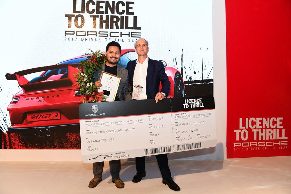 馬來西亞的Mohd Elyas Bin Zakaria 展現出過人的賽車知識及賽道駕駛技巧,成為史上第一位保時捷亞太地區的年度最佳車手。圖/保時捷提供