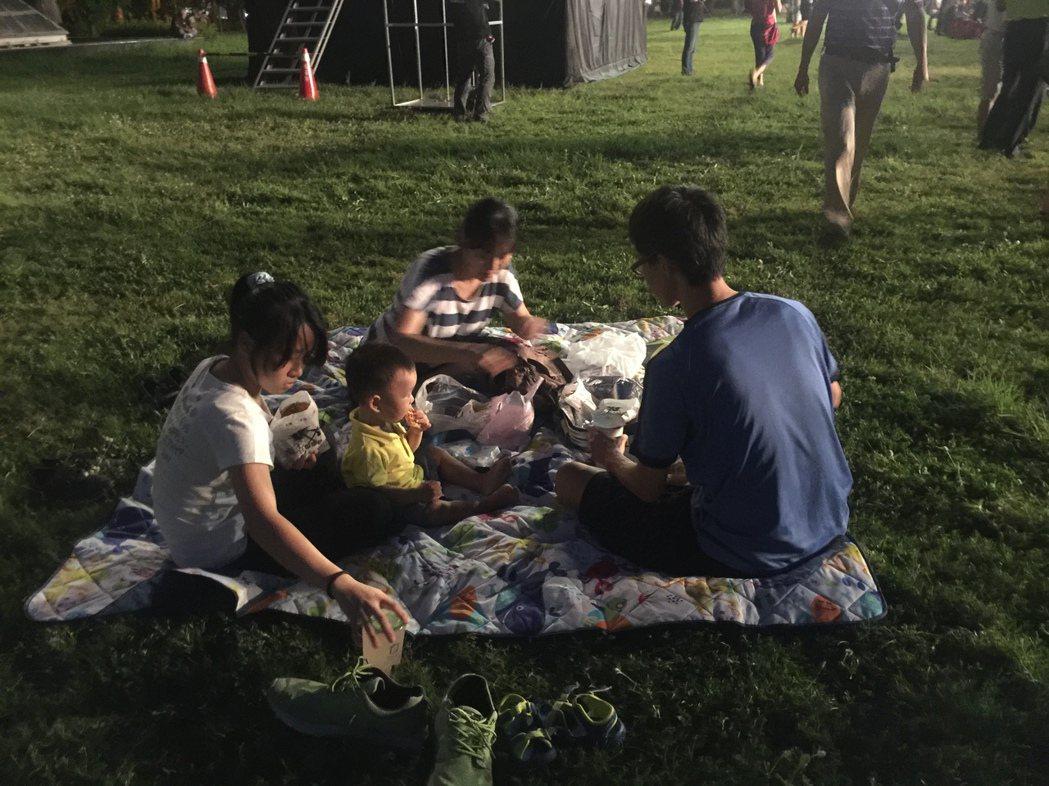 有人在南瀛綠都心公園野餐。記者吳政修/攝影