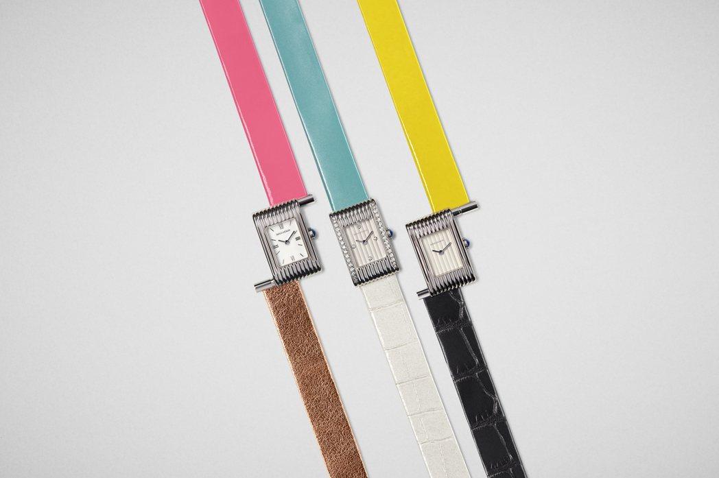 寶詩龍REFLET系列腕表歡慶70周年,推出8條紀念表帶,包括鮮豔的玫瑰粉金、珍...