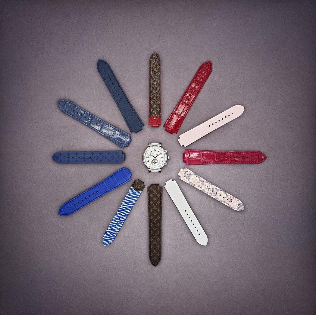 路易威登Tambour全系列表款均可自行拆組各種表帶,專利設計無需工具,表帶已有...