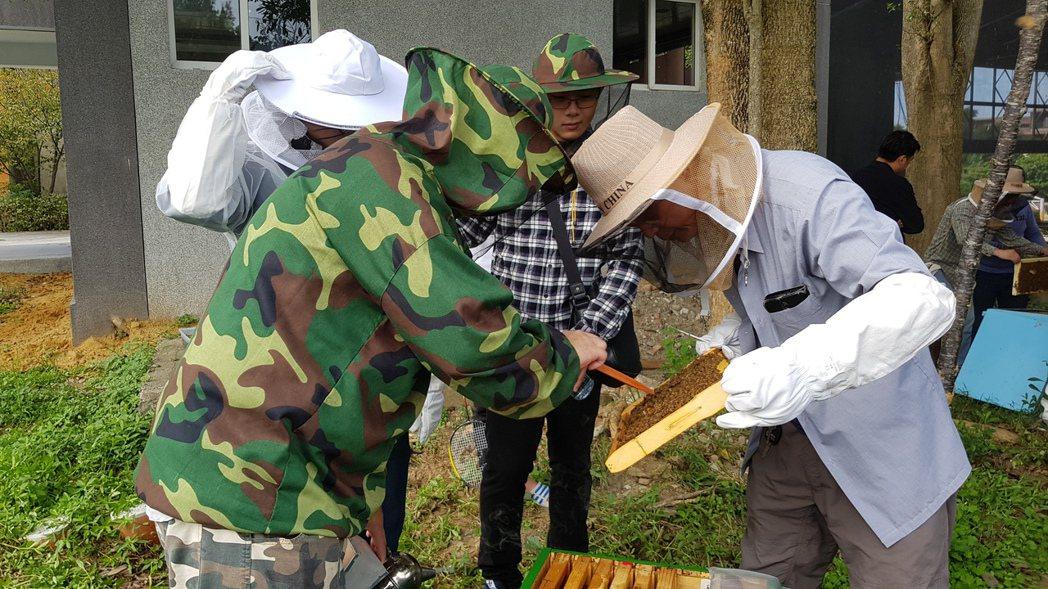 謝文達(左)指導養蜂班志工辨識蜂王。記者黃瑞典/攝影