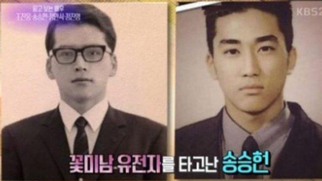 宋承憲(右)公布父親年輕時的照片(左),網友驚呼爸爸比他更帥。圖/摘自KBS