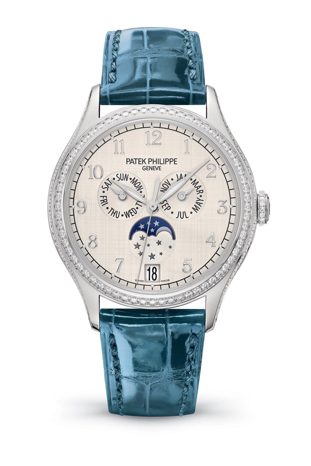 編號4947年曆女裝腕表,38毫米18K白金鑲鑽表殼、山東絲綢飾紋面盤、324 ...