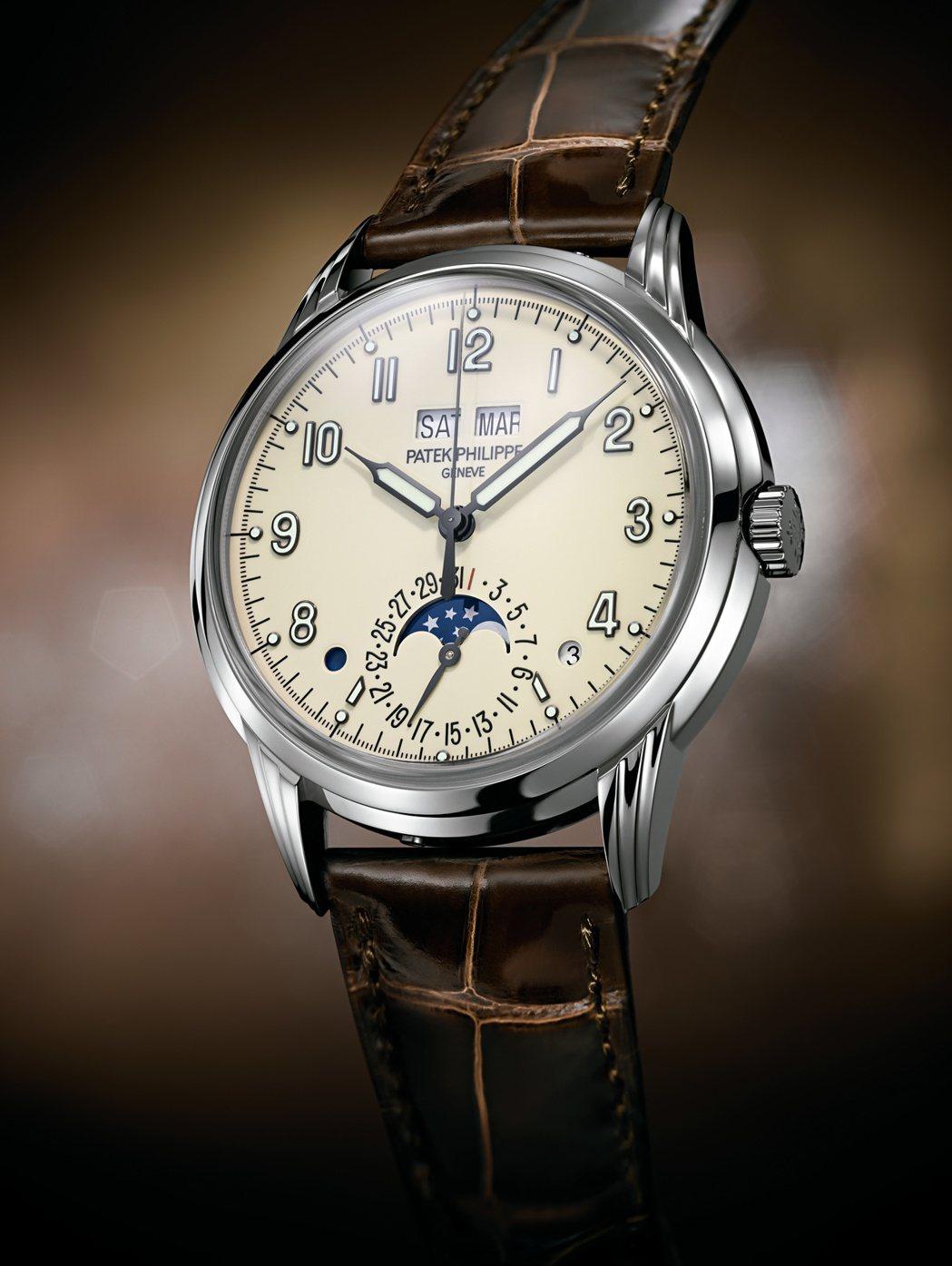 編號5320G萬年曆男裝腕表, 40毫米18K白金表殼、324 S Q自動上鍊萬...