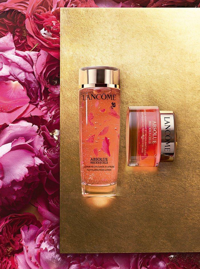 蘭蔻絕對完美玫瑰花瓣系列上市精露、面膜新品。圖/LANCOME提供