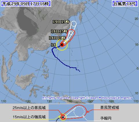 泰利颱風日前北轉後,轉往日本一帶前進。圖擷自日本氣象廳