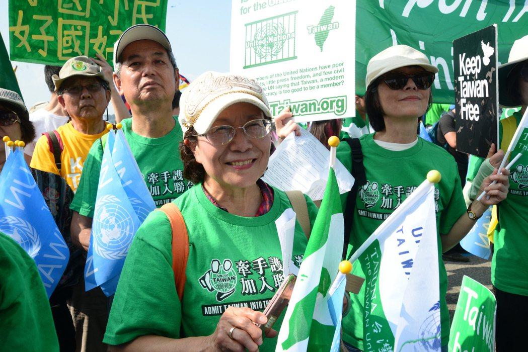 台灣加入聯合國行動委員會在曼哈頓中城遊行,有一千多人參加。(記者許振輝/攝影)