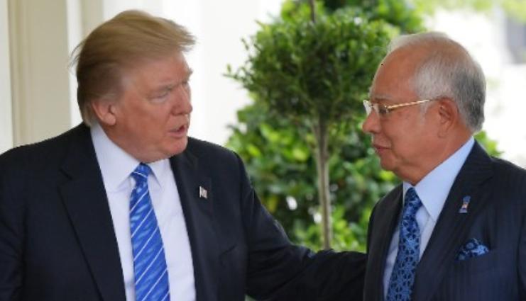 美國總統川普會晤馬來西亞總理納吉,避談「一馬公司貪污案」引起國際批評。 (pho...