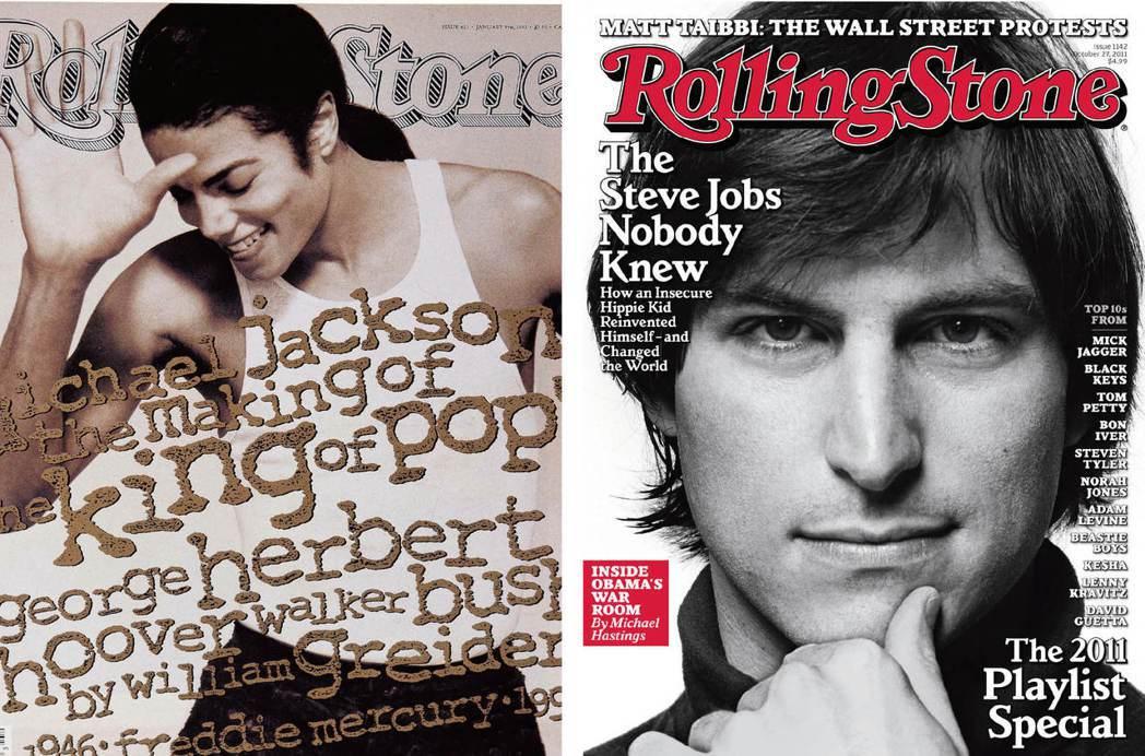 已故搖滾巨星麥可傑克森(左圖),與蘋果已故創辦人賈伯斯(右圖)都曾登上《滾石》雜...