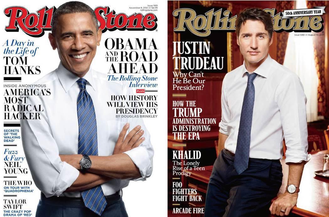 美國前總統歐巴馬(左圖)在2012年10月登上《滾石》雜誌封面,加國總理杜魯道,...