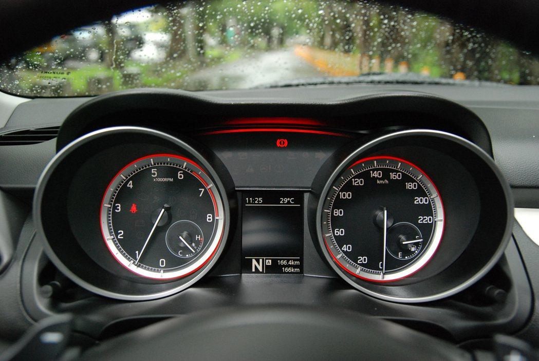 雙圓型指針式儀表清晰明瞭,中央也有數位螢幕提供行車資訊。 記者林鼎智/攝影