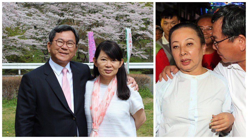 陳明文妻子廖素惠(左圖右)出面幫丈夫(左圖左)滅火,她說「以女性同理心,我向張縣...