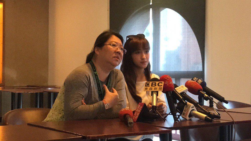 夏宇禾在經紀人陪同下露面,談被騷擾過程。圖/民視提供