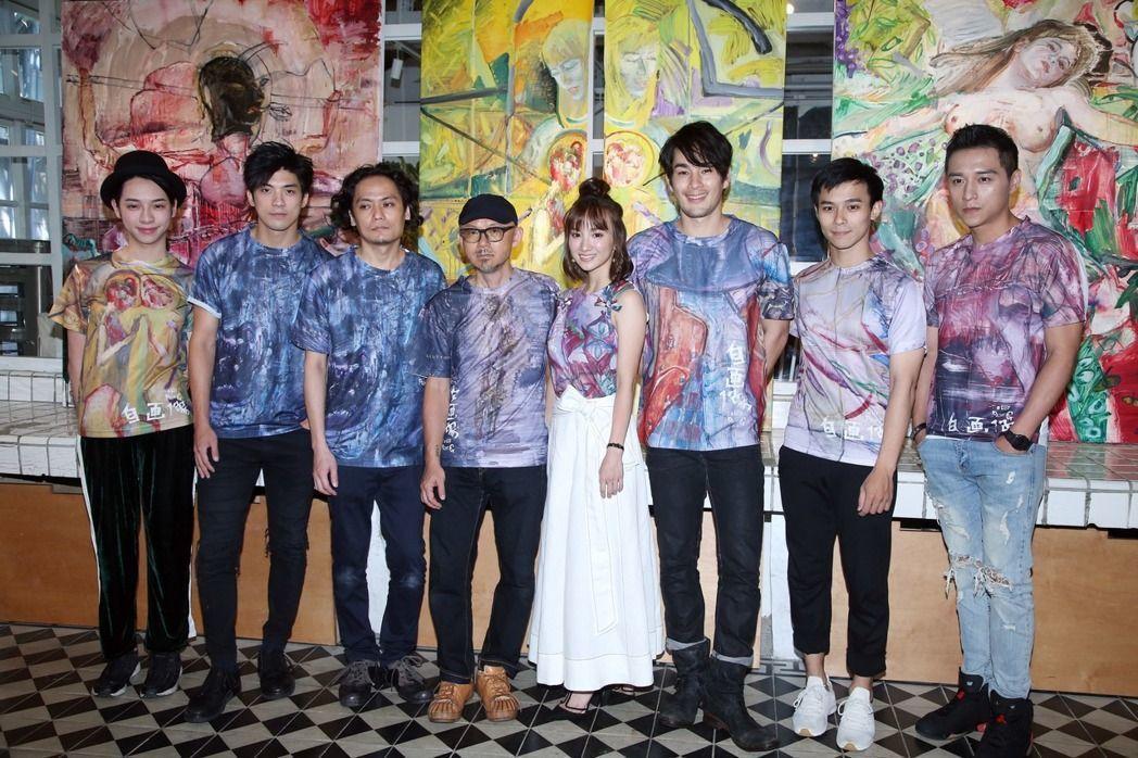 鄭人碩(右起)、呂名堯、岡本孝、張寗、導演陳宏一、畫家鍾江澤、林哲熹與Kiweb