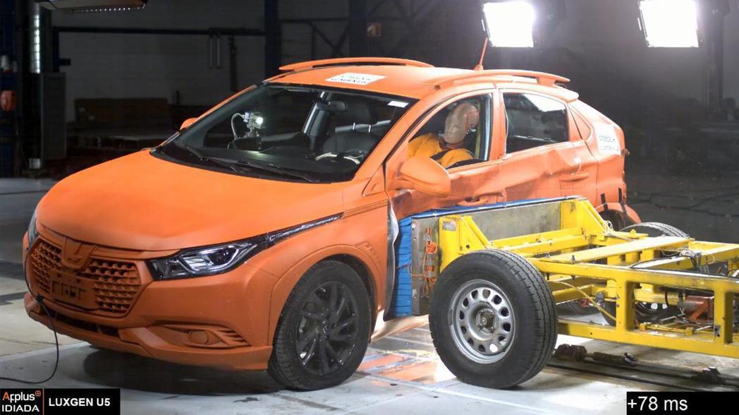 LUXGEN U5側撞以優異的低傷害指數通過Euro NCAP法規測試。圖/納智...