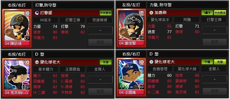 ★本次改版將進行2004CPBL選手卡重新評價,讓玩家比賽實力大增。