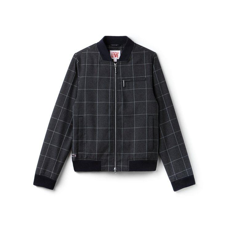 Lacoste L!VE秋冬系列黑色格紋夾克,約9,780元。圖/Lacoste...