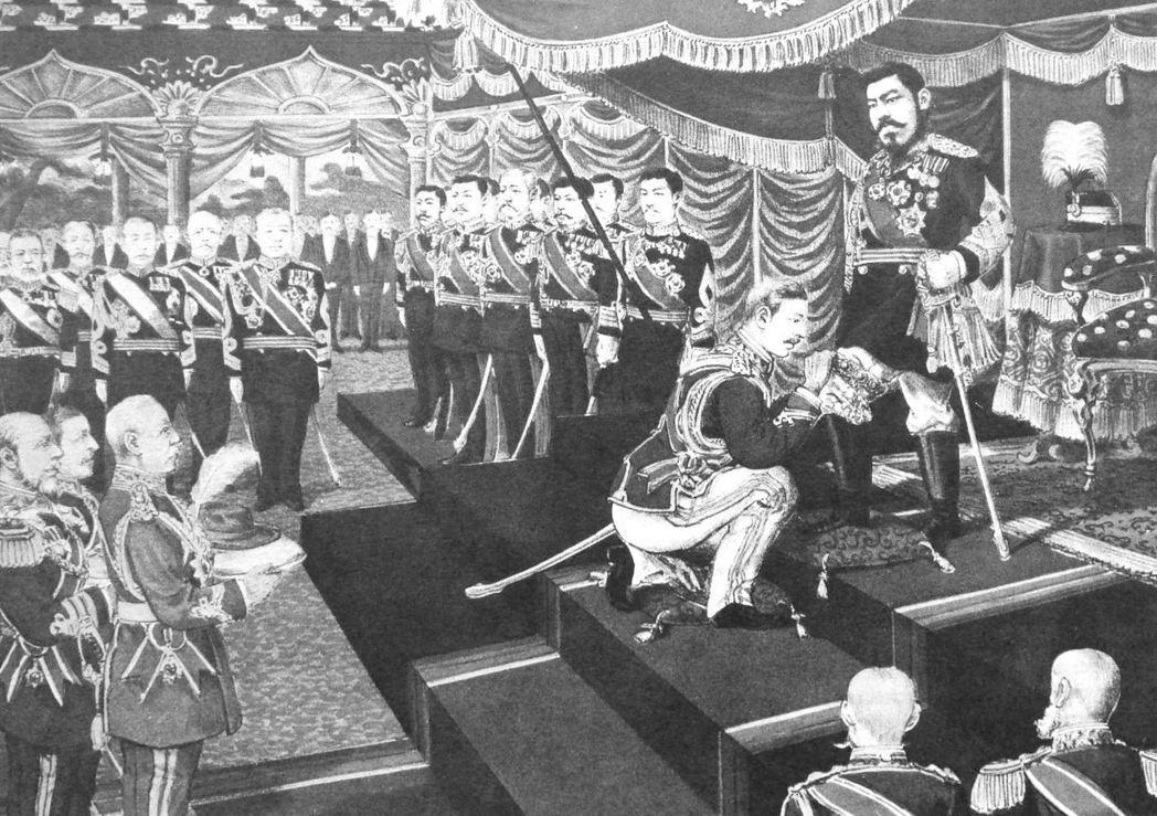 日本對英國與其他歐洲大國懷著孺慕之情,圖為1906年英日同盟後,亞瑟王子代表英國...