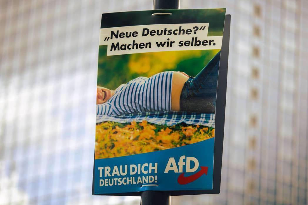 AfD在這次的選舉中採取「挑釁」的策略,不斷挑戰德國傳統政治的紅線,而其宣傳海報...