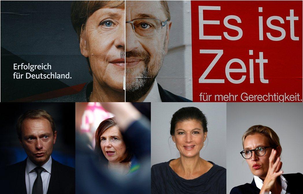 上排為基民黨與社民黨總理候選人:梅克爾、舒爾茲;下排左起為自民黨第一候選人林德納...