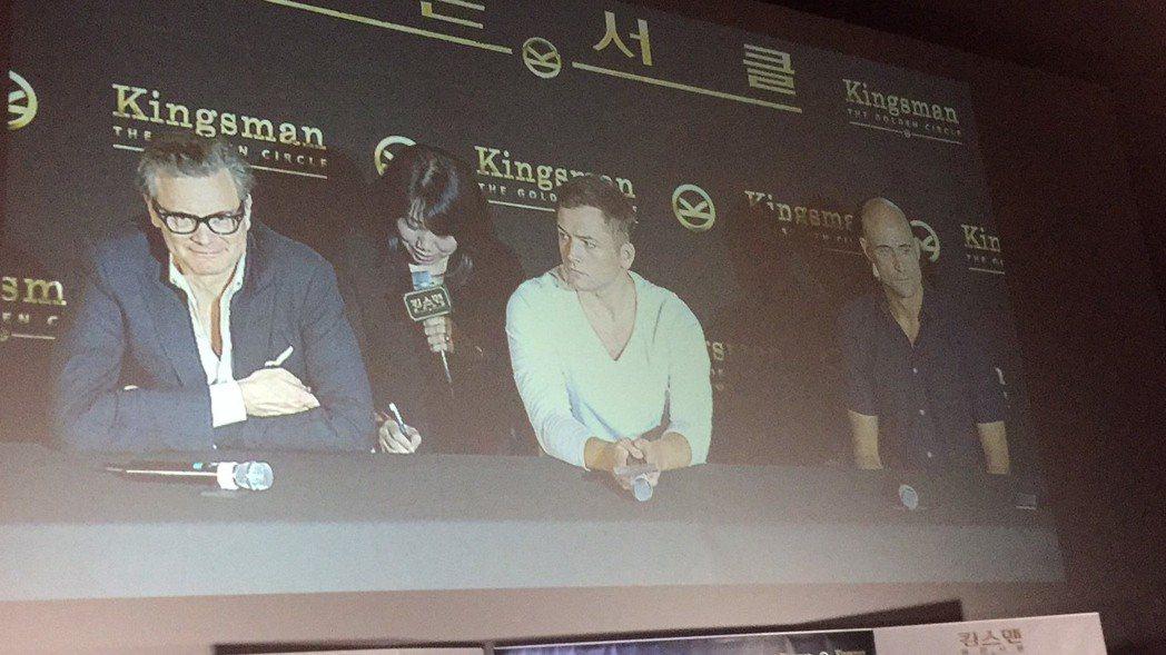 柯林佛斯(左起)、泰隆艾格頓以及馬克史壯出席「金牌特務:機密對決」首爾記者會。記...