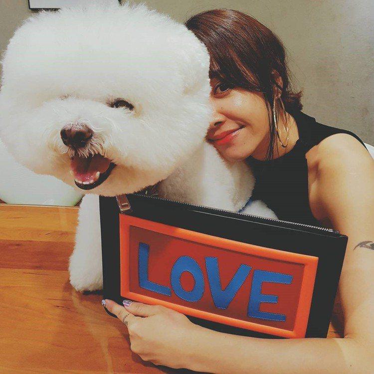 蔡依林以FENDI的Love手拿包和Woohoo一起入鏡。圖/取自IG
