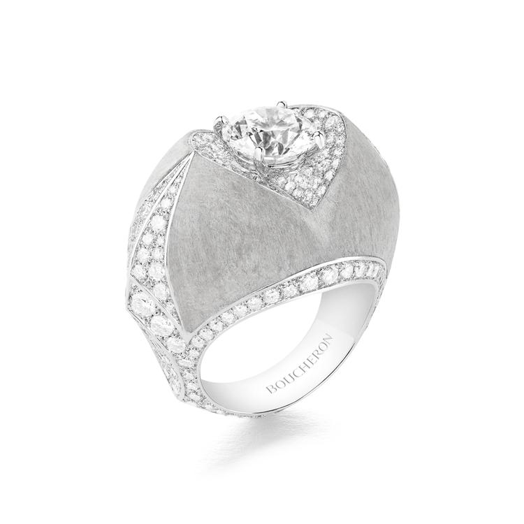 Rostov 戒指,白K金鑲嵌主石2.55克拉鑽石、鑽石共4.10克拉、白楊木共...