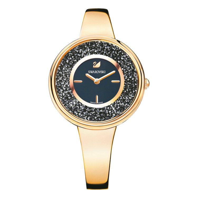 玫瑰金Crystalline Pure手表,17,900元。 圖/施華洛世奇提供