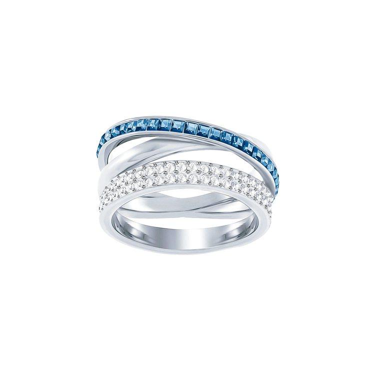 Hero戒指,藍綠色,鍍白金色,5,990元。 圖/施華洛世奇提供