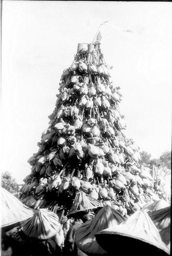 三0年代北埔客庄在中元普渡時以「吊棧」,把雞鴨魚吊掛成山狀。鄧南光攝影作品。 圖...