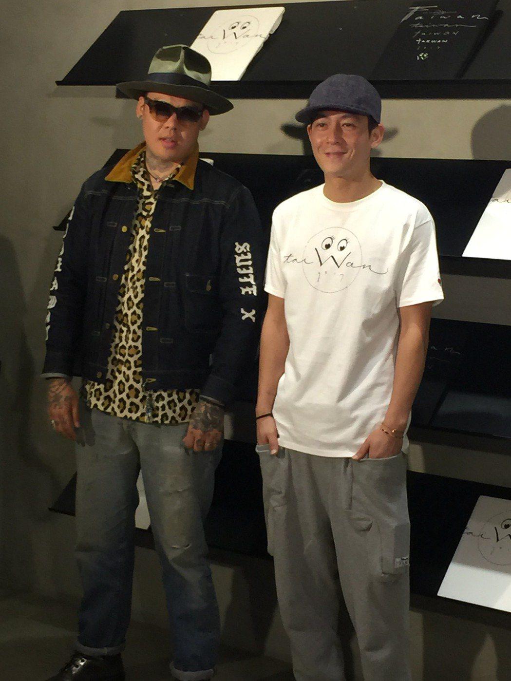陳冠希快閃來台。左為刺青師Dr.Woo。記者袁世珮/攝影