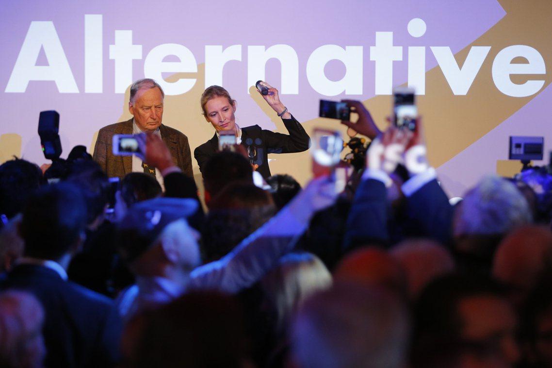 本次德國大選的最大贏家:德國另類選擇黨(AfD)。圖為正在發表感言的第一候選人:...